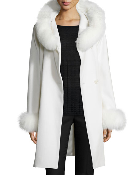 Felt Fur-Trim Wrap Coat, White