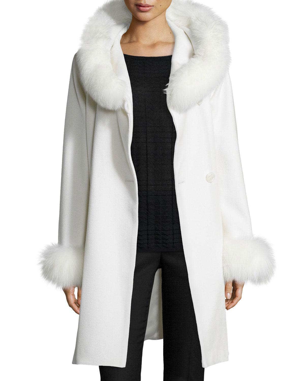 Sofia Cashmere Felt Fur-Trim Wrap Coat, White