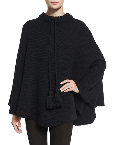 Tassel-Trim Crochet Poncho, Black