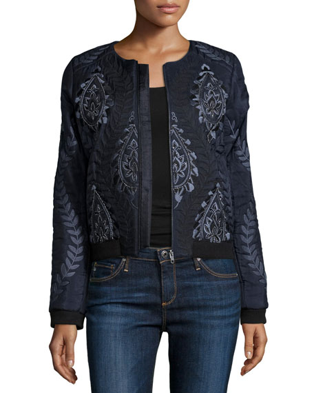 Maverick Embellished & Embroidered Bomber Jacket, Midnight
