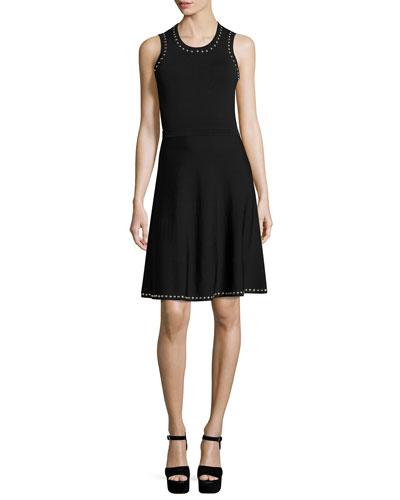 Parker Brenda Studded Knit Dress, Black