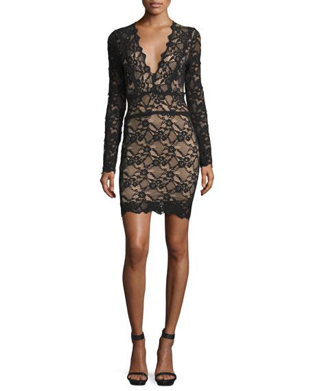Debut Lace Long-Sleeve Mini Dress, Black