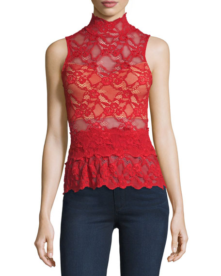 Nightcap Clothing Lace Peplum Sleeveless Top, Scarlett