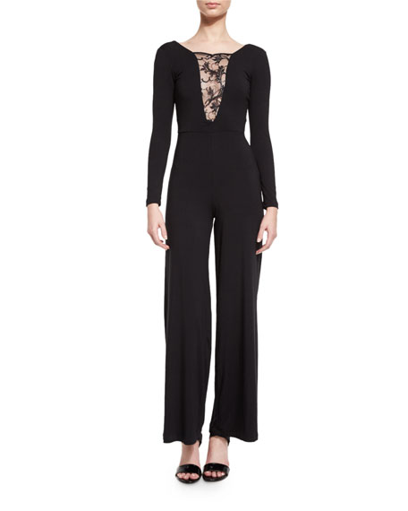 Nightcap Clothing Lace-Inset Long-Sleeve Jumpsuit