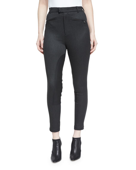 Cropped High-Rise Riding Pants, Charcoal
