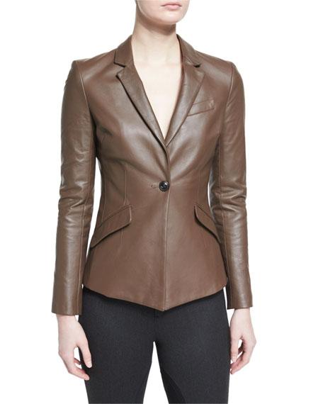Asymmetric Leather Blazer, Smoke