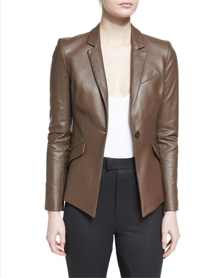 ATM Anthony Thomas Melillo Asymmetric Leather Blazer, V-Neck