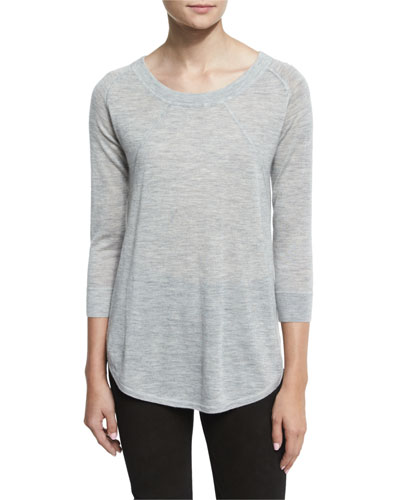 Lightweight Slub-Knit Cashmere Sweater, Heather Gray
