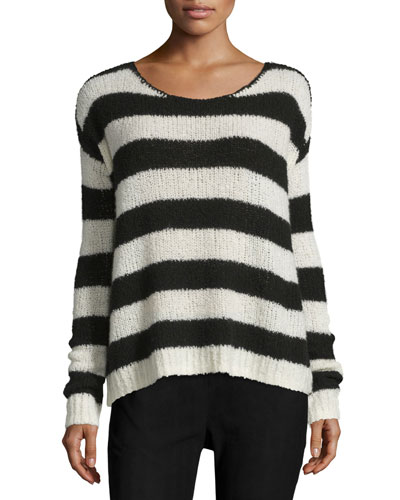 Striped Wool-Blend Sweater, Chalk/Black