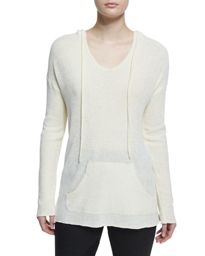Hooded V-Neck Pullover Sweatshirt, Chalk