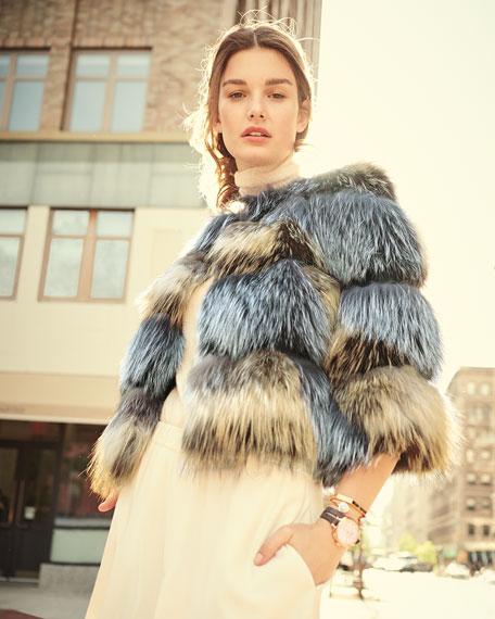 Boxy Two-Tone Fox Fur Jacket, Natural/Gray