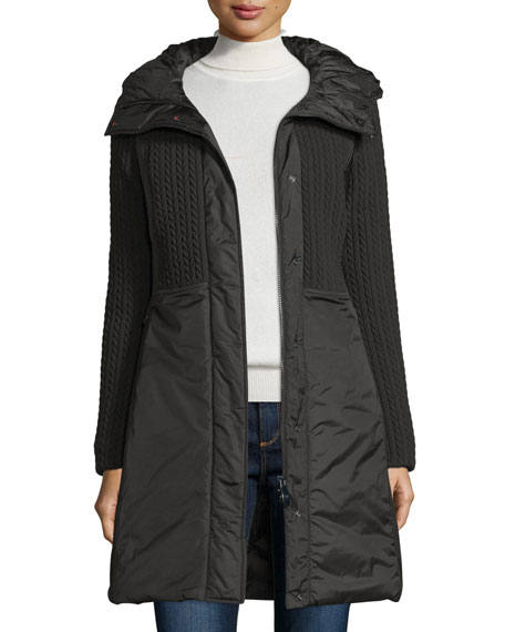 Post CardQuilted 3-Layer Hooded Parka, Nero