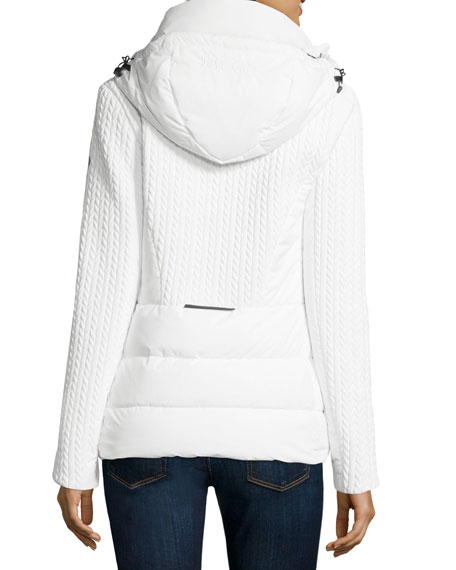 Hooded Quilted Down Jacket, White