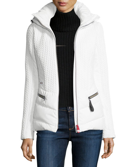 Post Card Hooded Quilted Down Jacket, White