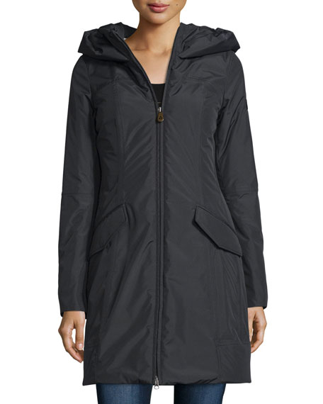 Hooded Zip-Front Parka, Nero