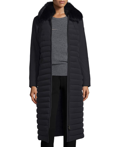 Quilted Long Fur-Trim Coat, Nero