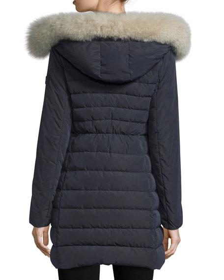 Hooded Asymmetric-Zip Puffer Jacket, Navy
