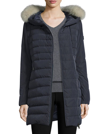 Peuterey Hooded Asymmetric-Zip Puffer Jacket, Navy