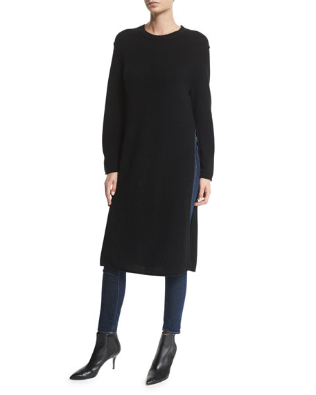 Line Knox Wool/Cashmere-Blend Side-Slit Sweater