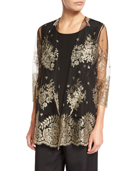 Caroline Rose Luxury Lace Jacket, Silk Crepe Tank