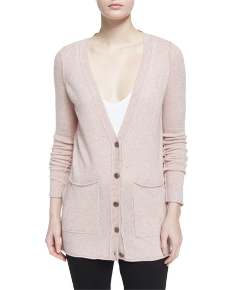 Cashmere V-Neck Donegal Cardigan, Ginger