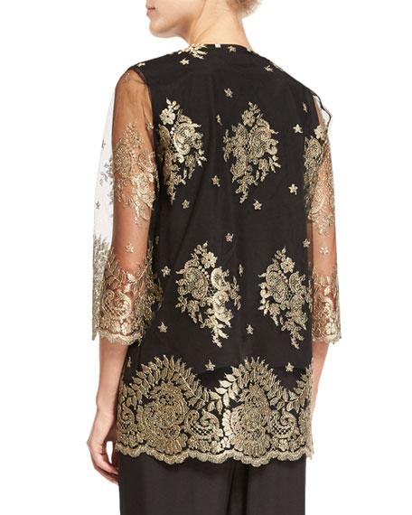 Luxury Lace Jacket, Gold/Black