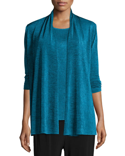Marled Jersey Mid-Length Cardigan, Blue
