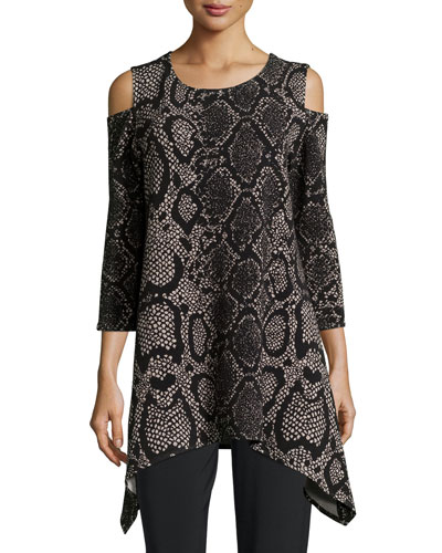 Rattle & Roll Cold-Shoulder Animal-Print Tunic  Petite