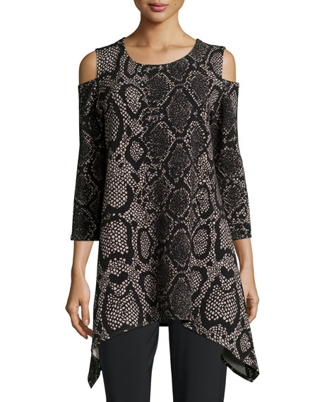 Caroline Rose Rattle & Roll Cold-Shoulder Animal-Print Tunic,