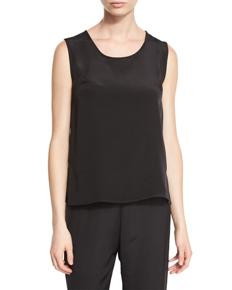Caroline Rose Mid-Length Silk Crepe Tank Top, Black,