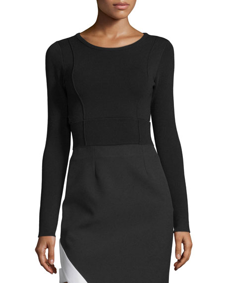 Kendall + Kylie Compact Cutout-Back Long-Sleeve Crop Top