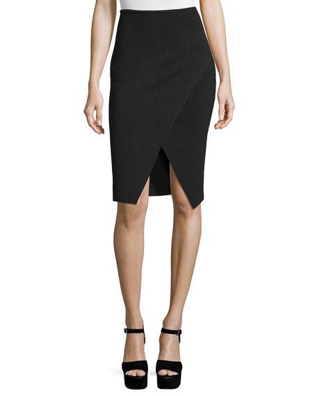 Kendall + Kylie Compact Knit Overlap Pencil Skirt
