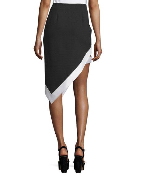 Asymmetric Contrast Satin-Trim Skirt