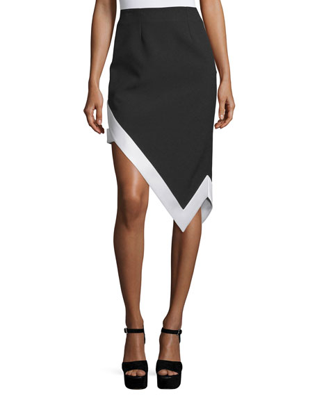 Asymmetric Contrast Satin-Trim Skirt