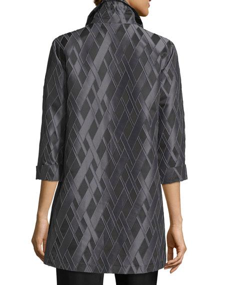 3/4-Sleeve Diamond Jacquard Topper Jacket, Plus Size