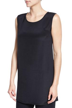 Caroline Rose Ponte Knit Longer Tank, Black, Petite