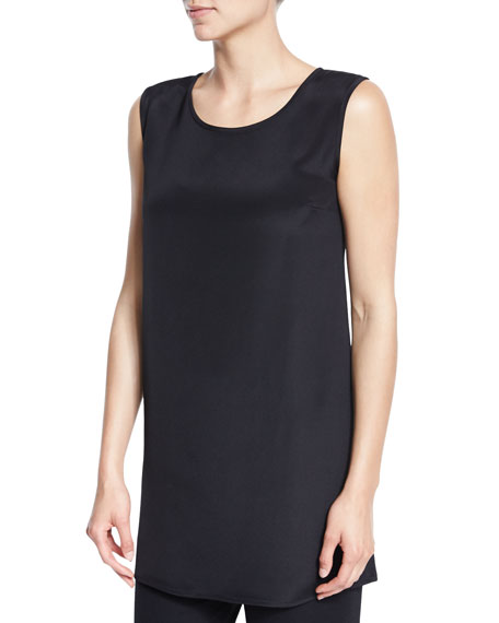 Caroline Rose Ponte Knit Longer Tank, Black, Plus