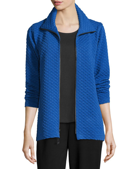 Diamond-Quilted Zip-Front Jacket, Royal, Petite