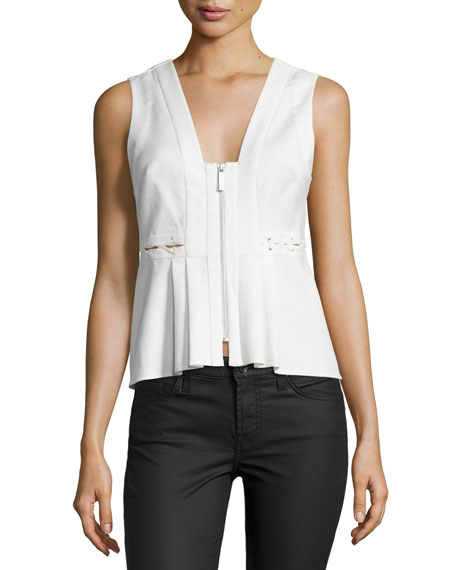 Kendall + Kylie Front-Zip Sleeveless Peplum Top, White