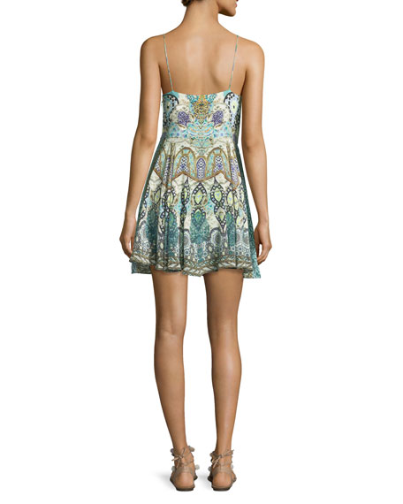 Embellished Tie-Front Sleeveless Coverup Dress, Casablanca