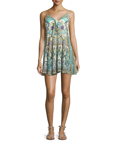 Camilla Embellished Tie-Front Sleeveless Coverup Dress, Casablanca