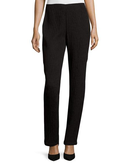 Caroline Rose Mini-Pleated Knit Pants, Black, Petite