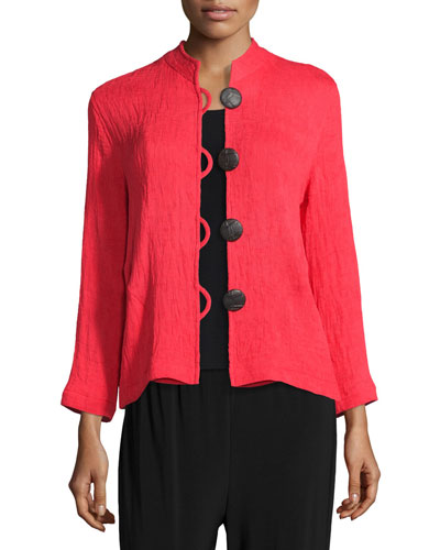 Mini-Pleated Mandarin-Collar Jacket