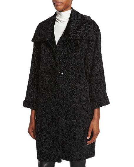 Caroline Rose Playful Persian Faux-Fur Coat, Petite