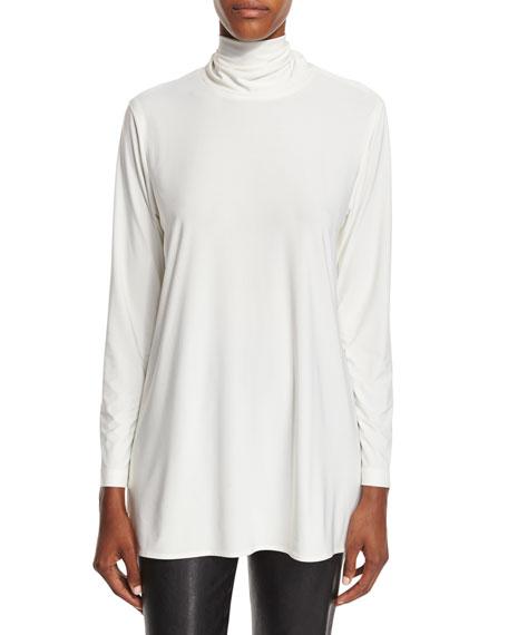 Caroline Rose Mock-Neck Back-Zip Knit Tunic, Off White,