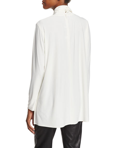 Mock-Neck Back-Zip Knit Tunic, Off White
