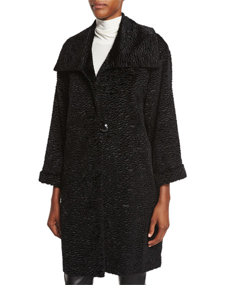 Caroline Rose Playful Persian Faux-Fur Coat, Mock-Neck Back-Zip