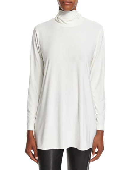 Caroline Rose Mock-Neck Back-Zip Knit Tunic, Off White,