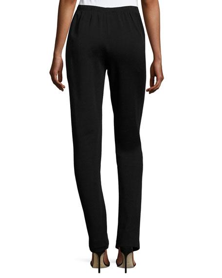 Flat-Knit Wool Slim-Leg Pants, Black, Plus Size