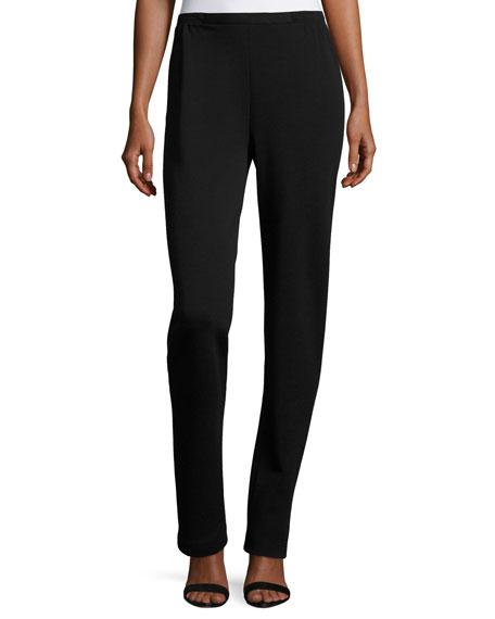 Flat-Knit Wool Slim-Leg Pants, Black, Petite